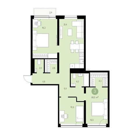 Вариант №4744, 4-комнатная квартира в жилом комплексе Европейский Берег