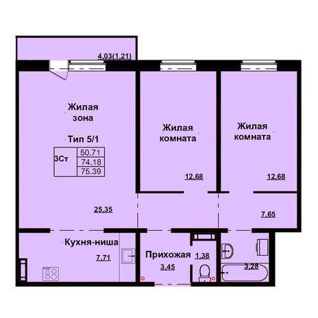 Вариант №3167, 3-комнатная квартира в жилом комплексе Дунаевский