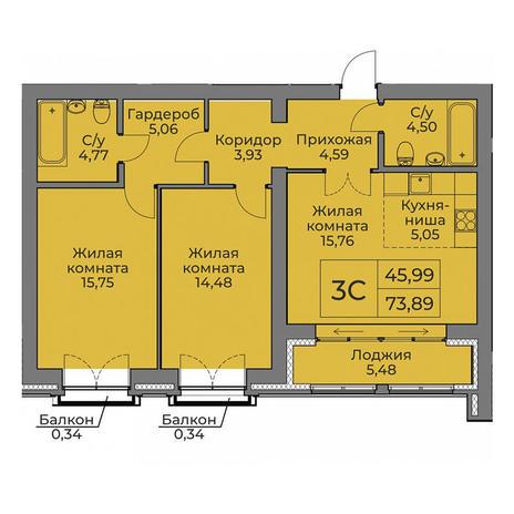 Вариант №3552, 3-комнатная квартира в жилом комплексе
