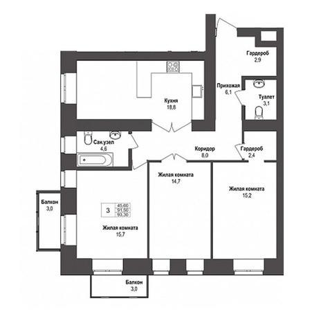 Вариант №3145, 3-комнатная квартира в жилом комплексе