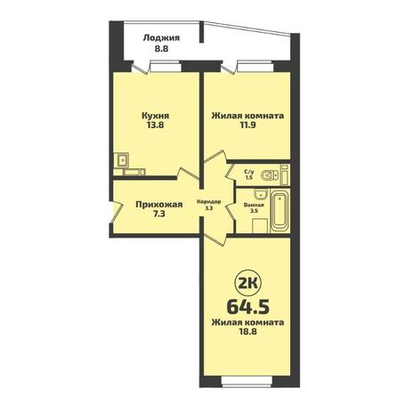 Вариант №5707, 2-комнатная квартира в жилом комплексе Родники