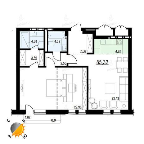 Вариант №901, 2-комнатная квартира в жилом комплексе Жуковка