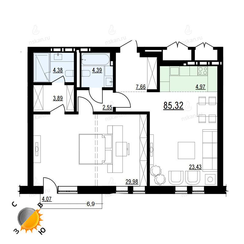 Планировка 2-комн. студия площадью 85.32 м<sup>2</sup> в ЖК Жуковка