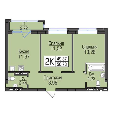 Вариант №2958, 2-комнатная квартира в жилом комплексе