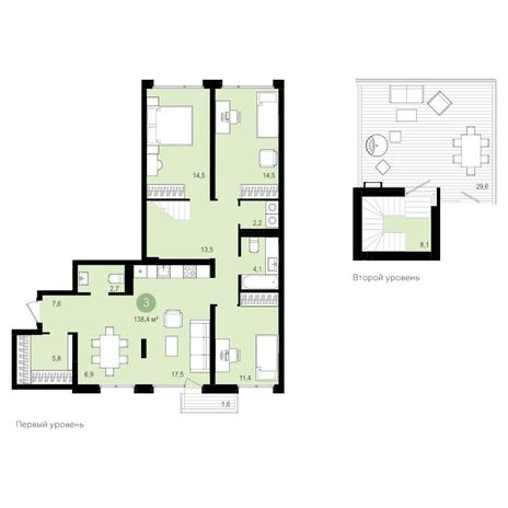 Вариант №4179, 4-комнатная квартира в жилом комплексе Montblanc