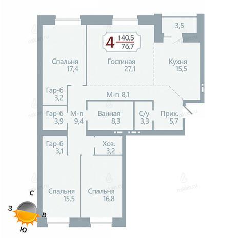 Вариант №1751, 4-комнатная квартира в жилом комплексе Бульварный переулок