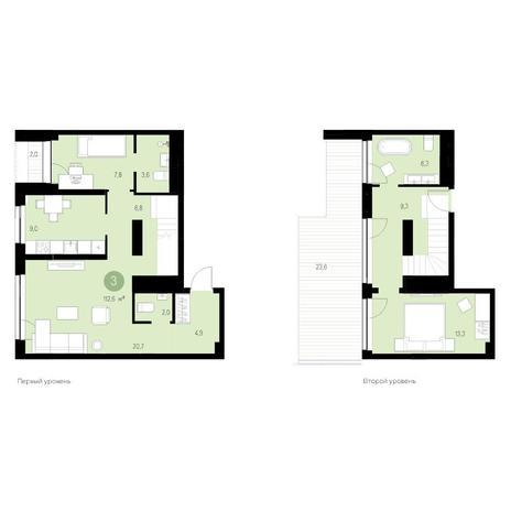 Вариант №4657, 3-комнатная квартира в жилом комплексе