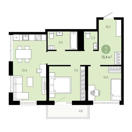 Вариант №4606, 3-комнатная квартира в жилом комплексе