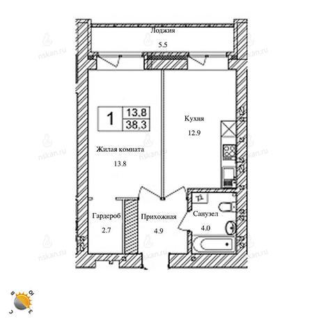 Вариант №2471, 1-комнатная квартира в жилом комплексе Солнечные часы