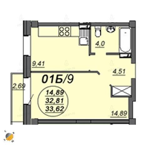 Вариант №2341, 1-комнатная квартира в жилом комплексе Чистая Слобода
