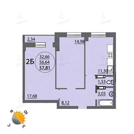 Вариант №767, 2-комнатная квартира в жилом комплексе Аврора