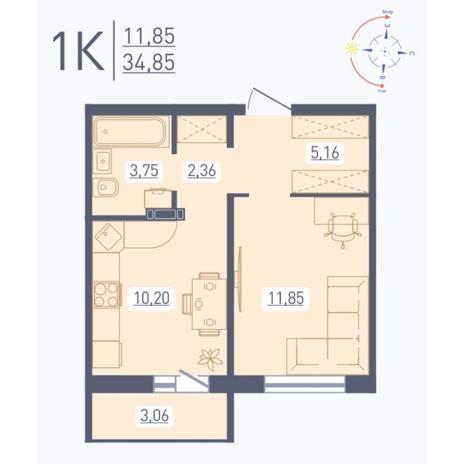Вариант №5563, 1-комнатная квартира в жилом комплексе