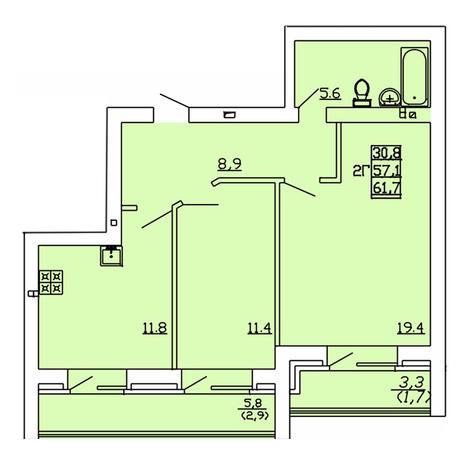 Вариант №4011, 2-комнатная квартира в жилом комплексе