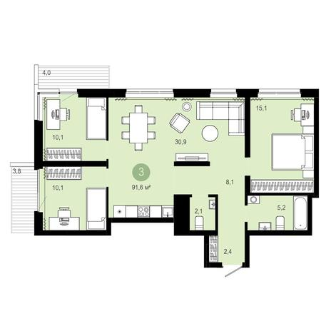 Вариант №4088, 4-комнатная квартира в жилом комплексе Европейский Берег