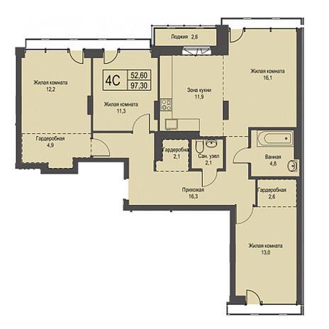 Вариант №3427, 4-комнатная квартира в жилом комплексе Эволюция