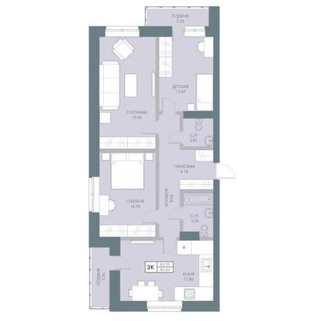 Вариант №4234, 3-комнатная квартира в жилом комплексе Облака