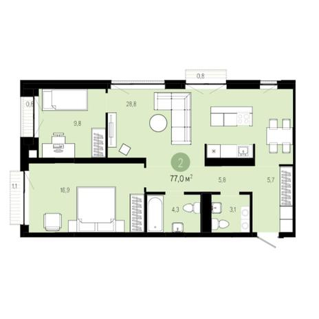 Вариант №6260, 3-комнатная квартира в жилом комплексе