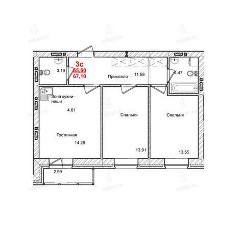 Вариант №1012, 3-комнатная квартира в жилом комплексе Маковского