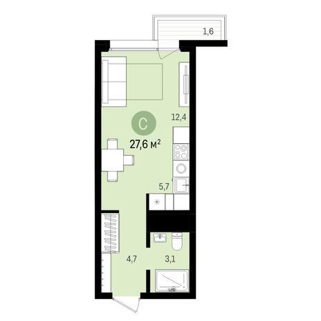 Вариант №6493, 1-комнатная квартира в жилом комплексе Радуга Сибири