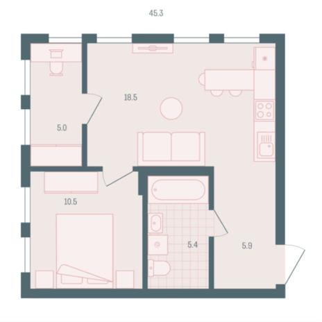 Вариант №5940, 1-комнатная квартира в жилом комплексе