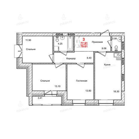 Вариант №1011, 3-комнатная квартира в жилом комплексе Маковского
