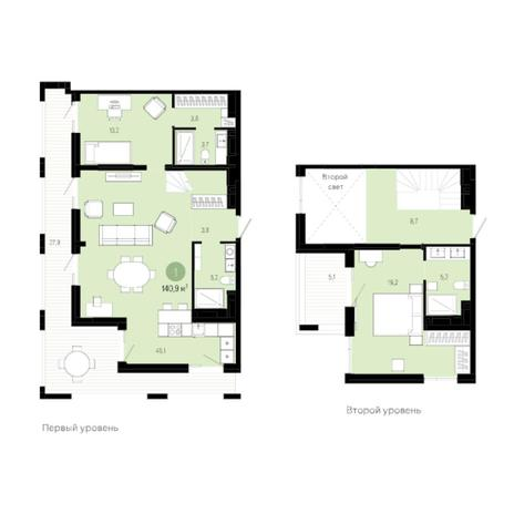 Вариант №6038, 3-комнатная квартира в жилом комплексе