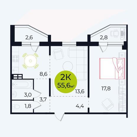 Вариант №4106, 2-комнатная квартира в жилом комплексе Заельцовский