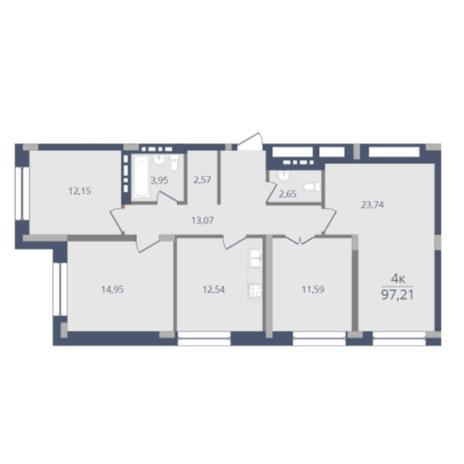 Вариант №6052, 4-комнатная квартира в жилом комплексе