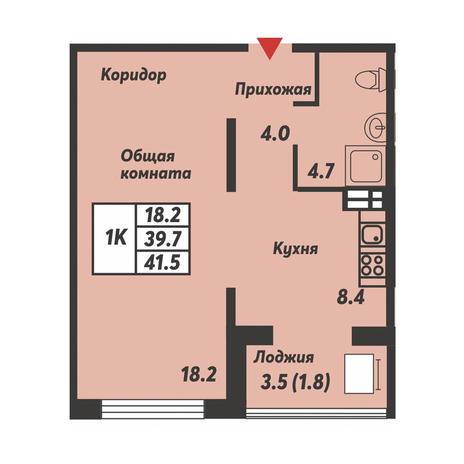Вариант №3690, 1-комнатная квартира в жилом комплексе