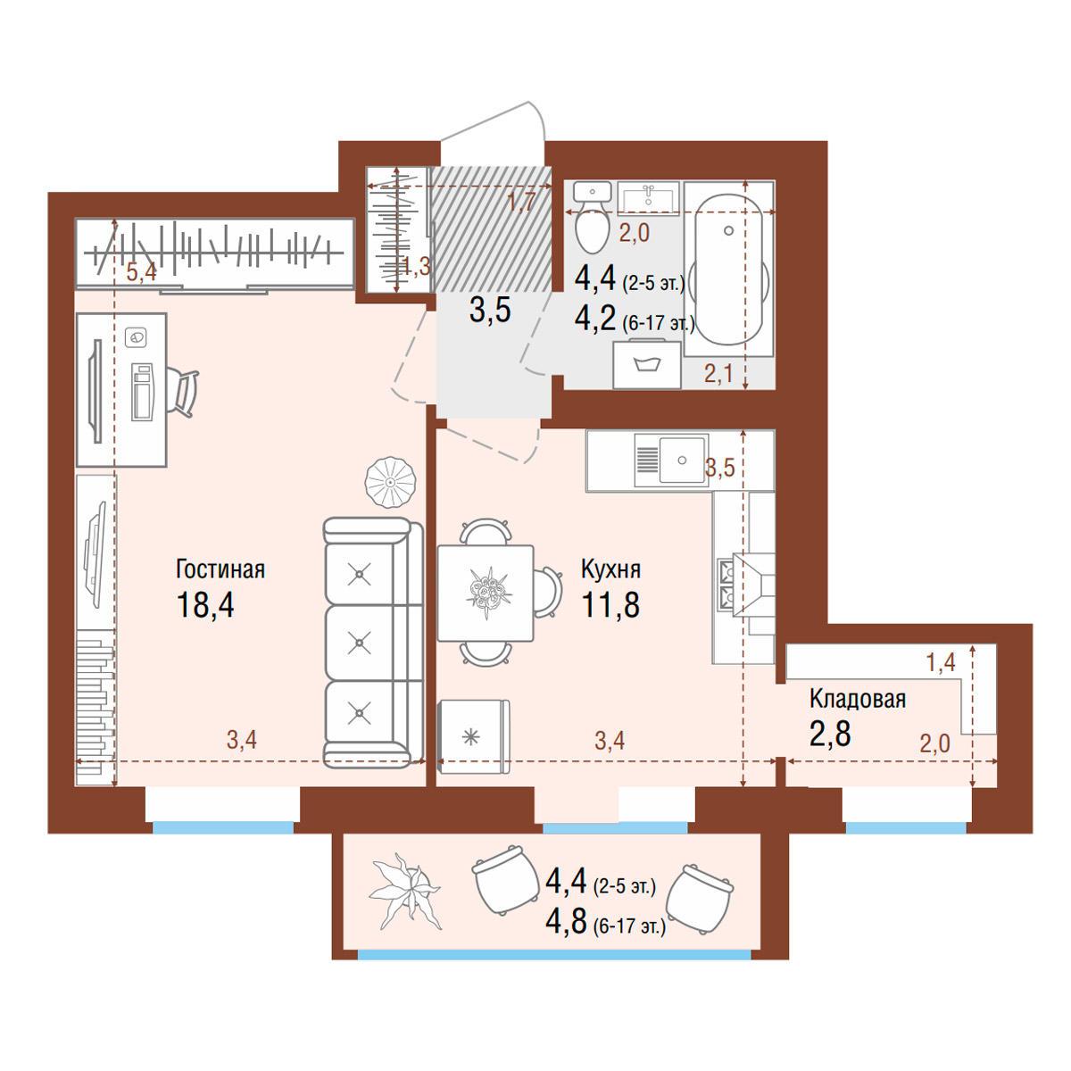 Планировка 1-комнатная площадью 45.5 м<sup>2</sup> в ЖК Одесса