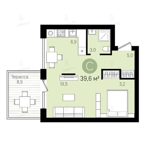 Вариант №2786, 1-комнатная квартира в жилом комплексе Европейский Берег