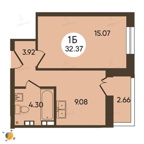 Вариант №2108, 1-комнатная квартира в жилом комплексе История