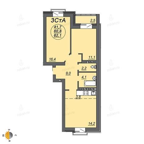 Вариант №2225, 3-комнатная квартира в жилом комплексе На Декабристов