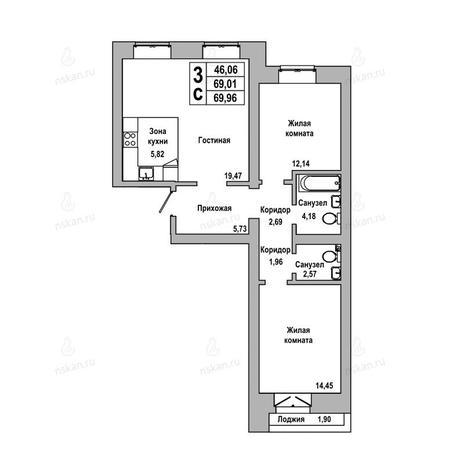 Вариант №1026, 3-комнатная квартира в жилом комплексе ГринАрт