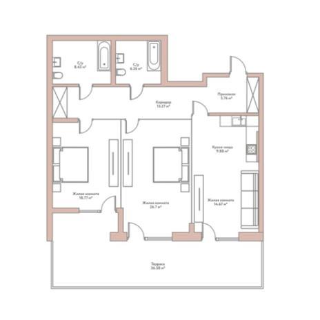 Вариант №5952, 3-комнатная квартира в жилом комплексе