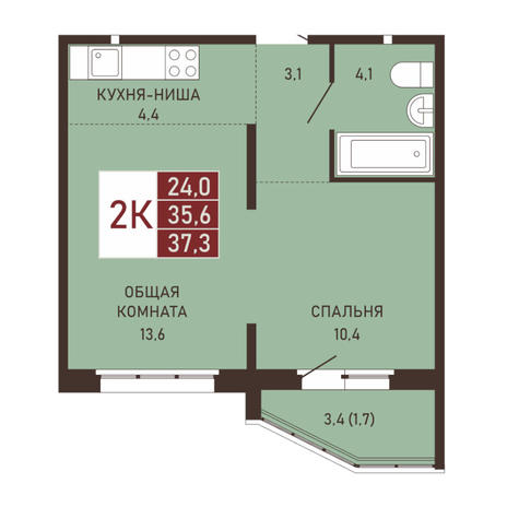 Вариант №3657, 2-комнатная квартира в жилом комплексе