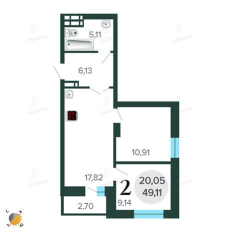 Вариант №2268, 3-комнатная квартира в жилом комплексе Оазис