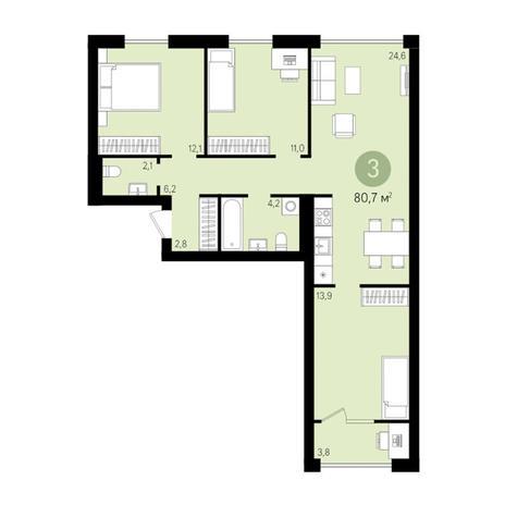 Вариант №3021, 4-комнатная квартира в жилом комплексе