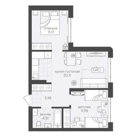 Вариант №6213, 3-комнатная квартира в жилом комплексе