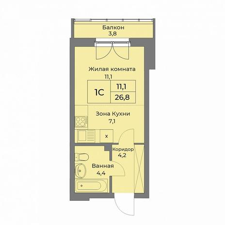 Вариант №5279, 1-комнатная квартира в жилом комплексе