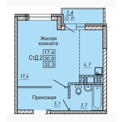 Вариант №4551, 1-комнатная квартира в жилом комплексе Новые Матрешки