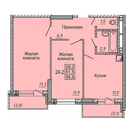 Вариант №4118, 2-комнатная квартира в жилом комплексе Новые Матрешки