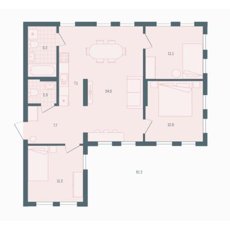 Вариант №5936, 3-комнатная квартира в жилом комплексе