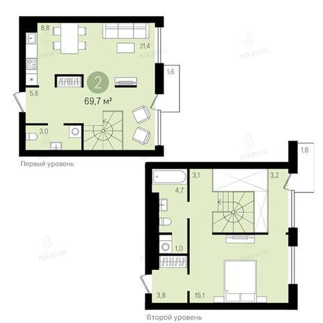 Вариант №2787, 2-комнатная квартира в жилом комплексе Европейский Берег