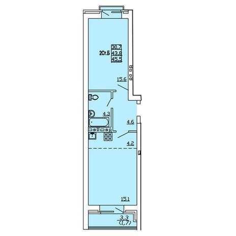 Вариант №4007, 2-комнатная квартира в жилом комплексе