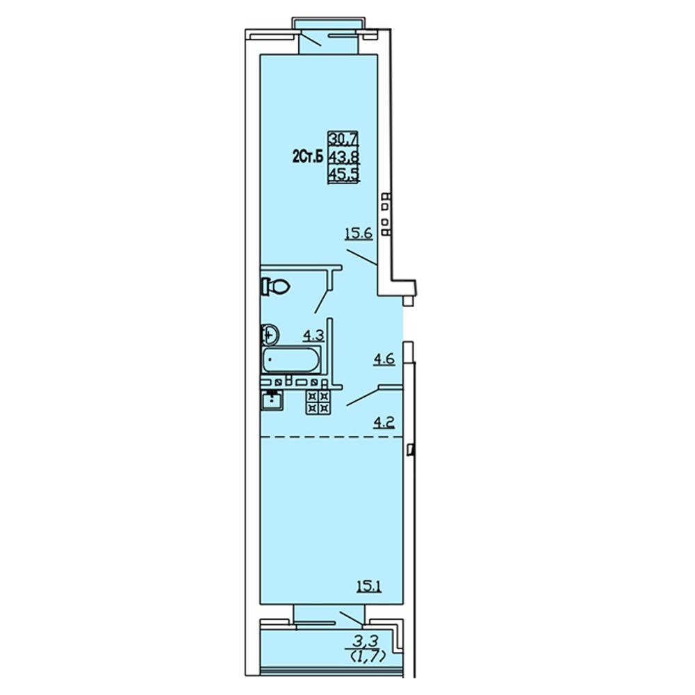 Планировка 2-комн. студия площадью 45.5 м<sup>2</sup> в ЖК Свобода