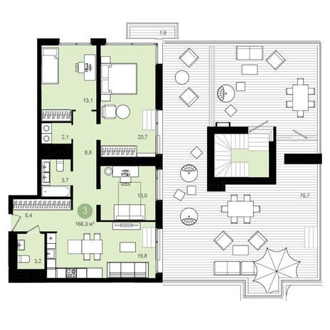 Вариант №4180, 4-комнатная квартира в жилом комплексе Статус