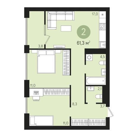 Вариант №3014, 3-комнатная квартира в жилом комплексе