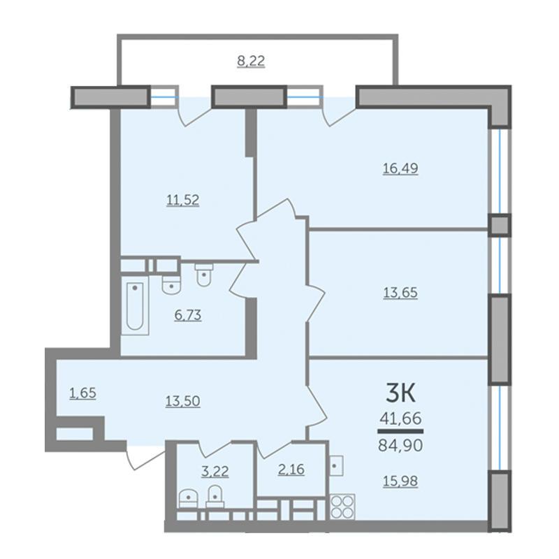 Планировка 3-комнатная площадью 84.9 м<sup>2</sup> в ЖК Оазис