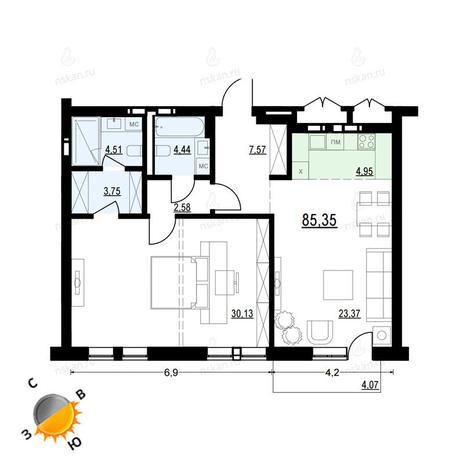 Вариант №911, 2-комнатная квартира в жилом комплексе Европейский Берег